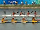 Canada and Australia compete in the Men's Kayak Four (K4) Semifinal at the Shunyi Olympic Rowing-Canoeing Park during Day 12 of the Beijing 2008 Olympic Games on August 20, 2008 in Beijing, China.
