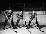 St. Moritz 1948: The first forward line of the Canadian ice hockey team which went on to win the gold medal. (Left to right) Ab Renaud, Ted Hibberd, and Reg Schroeter (1922-2002).
