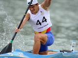 Andrei Liferi of Romania competes during men's head to head canoe sprint C1 match-for bronze. Liferi ranked the forth of the event.