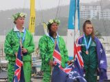 Australian sailor Carissa Bridge receives bronze at laser radial medal ceremony.