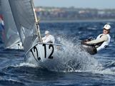 Brendan Casey in a Finn qualifying race during the 2011 ISAF Sailing World Championships in Perth, Australia.