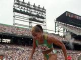 Cathy Freeman of Australia in action in the women's 200m. Freeman was run out in the semi-finals after winning silver in the 400m.