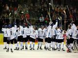 Team Finland wave to the crowd after their win against Russia in the semi-final of the men's ice hockey match between Finland and Russia.<br /><p>&nbsp;</p>