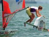 Chile's Maria Poncell-Maurin capsizes in light winds during Race 10 of the Girls' Byte CII One Person Dinghy