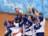 Chinese Taipei celebrates after defeating China 2-1 in the softball game at the Fengtai Softball Field.