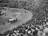 Helsinki 1952: A section of the vast crowd at Helsinki Stadium watching the Closing Ceremony.