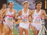 Great Britain's Sebastian Coe (359) and Steve Cram (362) lead the field in the final of the 1500m. Coe went on to win in an Olympic record 3:32.53 ahead of Cram who won the silver with 3:33.40.