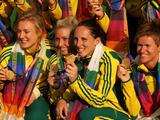 (L-R) Emily Hurtz, Casey Eastham, Madonna Blyth and Toni Cronk  celebrate their gold medal after defeating New Zealand during the Delhi 2010 Commonwealth Games