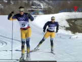 Esther Bottomley and Paul Murray cross country skiing