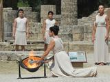 The Olympic torch is lit in the Ancient Stadium in Olympia, Greece.