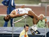 Daley Thompson of Great Britian competes in the men's decathlon high jump, in which he won the gold medal.