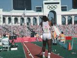 Daley Thompson of Great Britain prepares to jump in the decathlon pole vault event. Thompson won the gold medal with a world record score of 8,847pts.