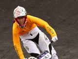 Kirsten Dellar competes in a quarter final of the Junior Women's BMX final