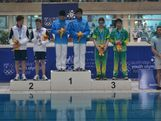 China took gold in the men's 3m synchronised diving with Great Britain the silver and Australia the bronze at the 2013 AYOF in Sydney.