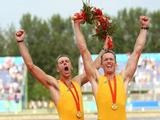 Duncan Free (R) and Drew Ginn of Australia celebrate the gold medal in the Men's Pair Final.