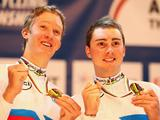Cameron Meyer and Leigh Howard of Australia celebrate winning their second straight Madison crown during the UCI Track World Championships at the Omnisport arena in Apeldoorn, Netherlands.