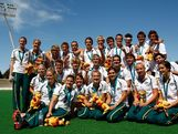 The Australian Mens and Women's players pose after the Women won silver and Men won gold during day five of the Australian Youth Olympic Festival at the Sydney Olympic Park Hockey Centre on January 18, 2009 in Sydney, Australia.