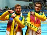 Matthew Mitcham and Ethan Warren pose with the silver medals won in the Men's 3m Synchro Springboard Final during the Delhi 2010 Commonwealth Games.