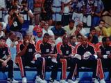 The original American Dream Team awaits their next match. Co-captained by Michael Johnson (2nd from left) the team included Michael Jordon (4th from left), Charles Barkley (5th from left) and the best the NBA had to offer. The team scored more than 100pts in every game and defeated Croatia in the final 117-85.