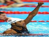 Amro El Geziry of Egypt celebrates after the Men's Modern Pentathlon Swimming 200m Freestyle.