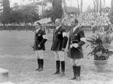 Rome 1960: The medal ceremony for the equestrian individual three-day event. (From left) Neale Lavis (AUS) wins the silver medal, Laurie Morgan (AUS) wins the gold medal and Anton Buehler (SUI) wins the bronze medal.