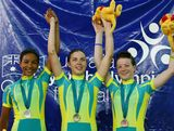 (L to R) Michaela Anderson, Melissa Hoskins and Amy Cure of Australia are pictured with their medals after the womens 3000 metre Individual pursuit during the Track Cycling on day two of the Australian Youth Olympic Festival at the Dunc Gray Veledrome on January 15, 2009 in Sydney, Australia.