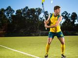 Fergus Kavanagh poses during an Australian Men's Kookaburras hockey portrait session at AIS on March 30, 2012 in Canberra, Australia.
