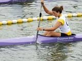 Jessica Fox of Australia (bottom) and WANG Nan Feng of Singapore compete during women's K1 canoe sprint head to head of canoe-kayak. Fox won.