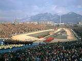 Grenoble 1968: General view of the delegations parade during the Opening Ceremony.