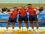 Rene Enders, Maximilian Levy and Stefan Nimke of Germany pose with their bronze medals after the men's team sprint track cycling event at the Laoshan Velodrome on Day 7 of the Beijing 2008 Olympic Games on August 15, 2008 in Beijing, China.