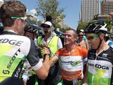 Simon Gerrans (C) is congratulated by the Greenedge team after winning the overall classification after stage six of the 2012 Tour Down Under in Adelaide, Australia.