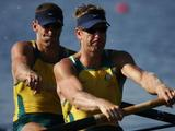(Right to left) Going for gold - James Tomkins and Drew Ginn of Australia compete in the men's pair semifinal and win the gold medal.