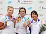 (From left to right) bronze medallist Tatiana Segina of Russia, gold medalist Kwak Ye Ji of Korea and Silver medalist Tan Ya Ting of Chinese Taipei