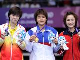 Sapsiree Taerattanachai of Thailand (gold, C), Deng Xuan of China (silver, L) and VU Thi Trang of Vietnam (bronze, R)