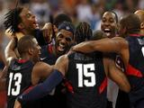 LeBron James #6 of the United States celebrates with his teammates after defeating Spain 118-107 in the gold medal game during Day 16 of the Beijing 2008 Olympic Games.