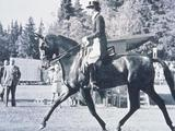 Helsinki 1952: Lis Hartel of Denmark rides her horse during her event and becomes the first woman in the sport of equestrian dressage to win a medal.