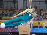 Brody-Jai Hennessy acts for pommel competition during Men's Qualification of Artistic Gymnastics.