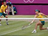 Samantha Stosur and Lleyton Hewitt of Australia compete against Laura Robson and Andy Murray of Great Britain during the Mixed Doubles Tennis quarter final match on Day 8.