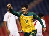 Jason Hoffman celebrates scoring the first of his three goals during the 2nd Leg of the 2012 London Olympic Games Asian Qualifier match between the Australian Olyroos and Yemen.