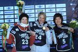 Holly Crawford atop the podium at the 2011 Snowboard World Championships. Ursina Haller of Switzerland took second place and Jiayu Liu of China took third place in the women's halfpipe in La Molina, Spain.