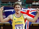 Nicholas Hough of Australia celebrates the vicotry after boys' 110m hurdles final A of Athletics at the Singapore 2010 Youth Olympic Games in Singapore, August 21, 2010. Hough won the gold medal of the event.