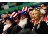 Fans of the United States look on during the ice hockey men's quarter 