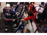 Ryan Whitney #19 of the United States walks through the tunnel before 