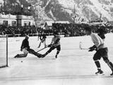 Chamonix 1924: The Canadian ice hockey team scoring during the final where they beat the United States 6-1 to take the gold medal.