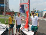 Sailors Elyse Ainsworth, Thomas Cunich and coach Tristan Brown ready to go at the 2014 Summer Youth Olympic Games in Nanjing, China.