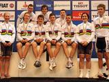 The Australian World Champions pose with their gold medals and rainbow jerseys at the UCI Track World Championships at the Omnisport arena in Apeldoorn, Netherlands. Out of the 19 Gold medals on offer at these Championships, Australia claimed 8 Gold, along with 2 Silver and 1 Bronze.