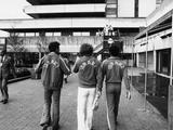 Montreal 1976: Three members of the Israeli team wander through the Olympic Village.
