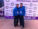Astrid Radjenovic and Jana Pittman get ready to take to the bobsleigh track in Sochi, Russia.