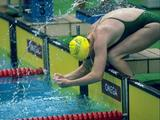 Janelle Elford of Australia prepares to dive into the pool for a freestyle event.