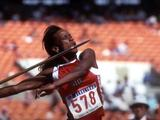 Jackie Joyner-Kersee of the United States throws the javelin during the heptathlon. Joyner-Kersee won the gold with 7,291 points, a new world record.